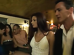 Wild orgy with European beauties in a restaurant