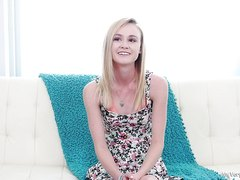 Flat-chested blond deep-throat, part 1, full HD