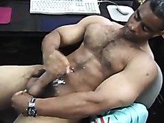 Hot hairy Latino jacks off