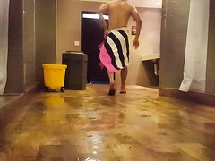 Puerto Rican dude getting out of PF shower.