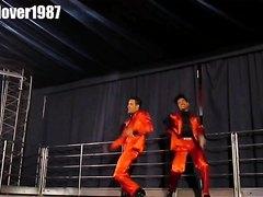 2 GoGo boys dancing in satin silk suits