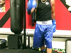 Boxing Guy in Blue Boxing Shorts