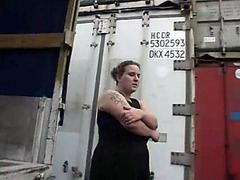 Big beautiful woman gets fucked in a shipping container