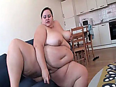 Masturbating fat girl with a huge belly