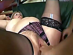 Fit young guy fucks fat blonde mature