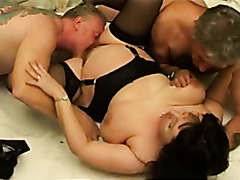 Chunky mature in lingerie fucked by two daddies