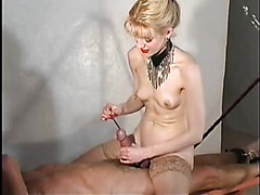 Mistress sounding his hard cock lustily