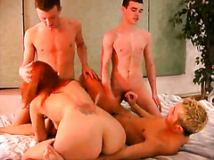 Bisexual foursome has foreplay and anal fucking
