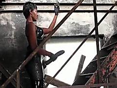 Ebony mistress with huge strapon cock fucks his ass