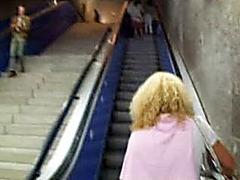 Drunk blonde girlfriend pissing in public