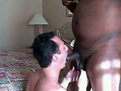 Big black cock cums in his tight gay ass