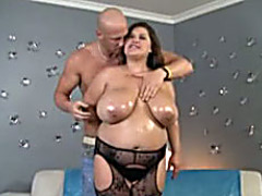 Horny fat mommy in black lingerie fucked by big cock