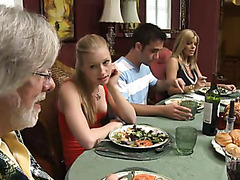 Old-young threesome scenes with sucking and fucking