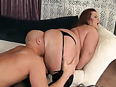 Big cock guy fucks his friend's wife in black stockings