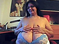Amateur plumper teases tits and masturbates solo