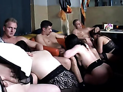 Beautiful women sucking and fucking at amateur orgy
