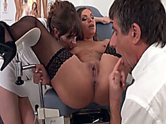 Doctor and nurse fuck patient in threesome