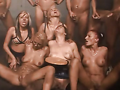 Messy orgy in dirty room with lots of whores