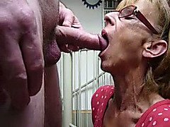 Loving blowjob from my mature wife in glasses