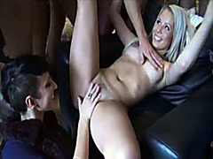Amateur group sex for a beautiful blonde girl