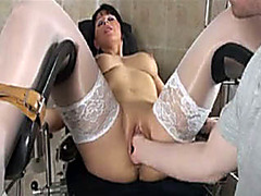 Bound milf in white stockings fist fucked deep