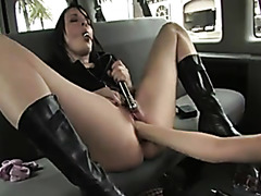 Lesbian pussy fisting and clit licking in the van