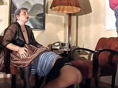 Daughter masturbates as her mom sucks a hard dick