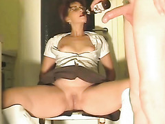 Wife in white leather boots gets fist fucked