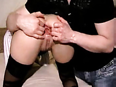 Amateur slut in stockings gets anally fisted