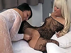 Lesbians in lingerie fist each other