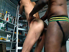 White bottom fucked doggystyle by his black lover