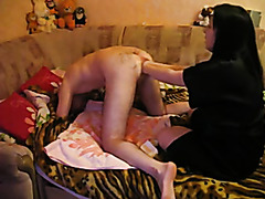 Sexy girlfriend in satin robe fists my ass