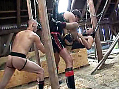 Gay latex anal sex and fisting in barn