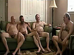 Four old daddies in cocksucking group video