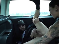 Dominant girlfriend strapon fucks and fists him in the car