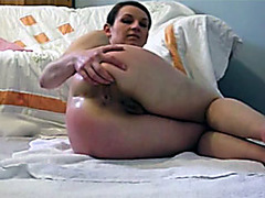 Shitting girl fingers her dirty asshole