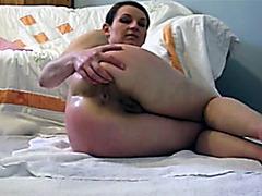 Shitting girl fingers her dirty asshole