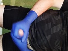 Stroking in Blue Biogel Surgical Gloves