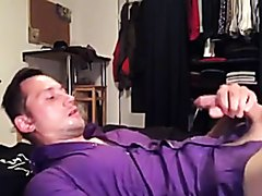 Hunk in Purple Shirt Jerks and Cums