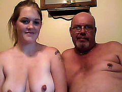 Pregnant girl rides her friend's fat dad on webcam
