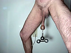 Weight swings from my cock in fetish clip