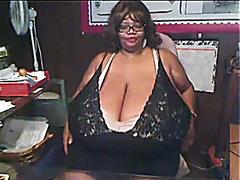 Monstrously huge black tits on webcam