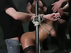 Sub bitch in rope bondage gangbang fucked