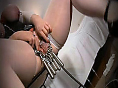 Kinky self bondage with BDSM babe in rubber