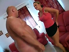 Fat dude sniffs the asshole of a dominant girl