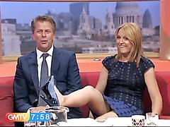Slow motion upskirt on morning TV show