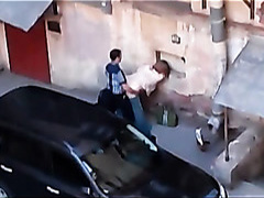 Voyeur video of a quickie in the street