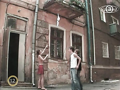 Topless Ukrainian girl plays hidden camera prank on guys
