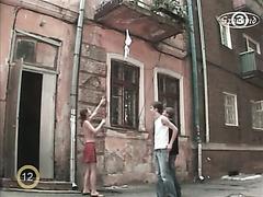 Topless Ukrainian girl plays hidden camera prank on guys