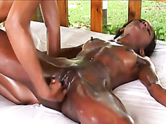 Skinny black girl gets finger fucked during massage